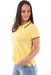 Camisa Polo Regular Piquet Traymon Feminina - Feminino-Amarelo Claro