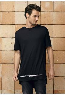 Camiseta Masculina Regular Alongada Em Malha De Viscose