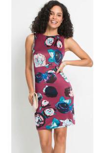 Vestido Tubinho Com Recortes Floral Amora