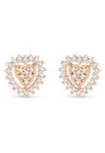 Brinco Ouro Rosé E Diamantes