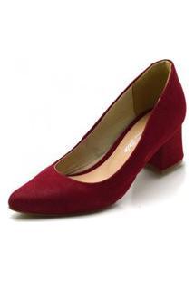 Sapato Peep Toe Ankle Boot Salto Grosso Confortável - Vermelho