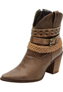 Bota Cano Médio Atron Shoes 2632 Couro Madeira