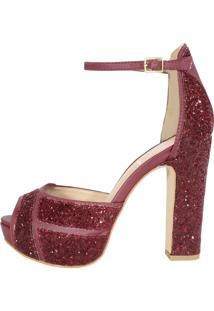 Sandália Salto Grosso Meia Pata Week Shoes 3D Glitter Furtacor Marsala