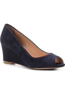 Peep Toe Couro Shoestock Anabela Suede - Feminino-Marinho