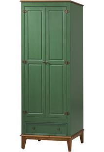 Armario Malibu 2 Portas E 1 Gaveta Cor Verde Com Amendoa 204 Cm - 63567 - Sun House