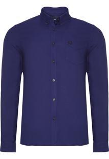 Camisa Masculina Button Down - Azul