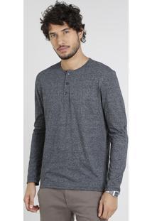 Camiseta Masculina Com Botões Manga Longa Gola Careca Cinza Mescla Escuro