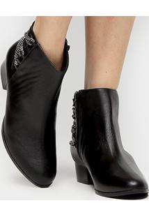 Bota Couro Shoestock Cano Curto Correntes Feminina - Feminino-Preto