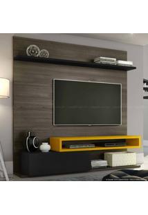 Estante Home Theater Para Tv Até 60 Polegadas 1 Porta Basculante Qn790 100% Mdf 182 X 180 X 40 Carvalho Francês/Preto Silk/Amarelo Ipê - Quiditá