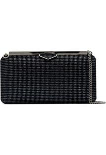 Jimmy Choo Clutch Ellipse Com Brilho - Preto