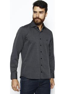 Camisa Slim Fit Texturizada - Cinza Escuro & Brancavip Reserva
