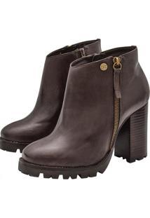 Bota Ankle Boot Corazzi Leather Deluxe Tratorada Couro Café