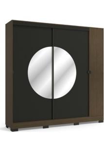 Guarda Roupa Kappesberg Po702 Pop 3 Portas Com Espelho Jacarandá E Preto Fosco Liso