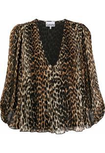 Ganni Blusa Com Estampa De Leopardo - Marrom