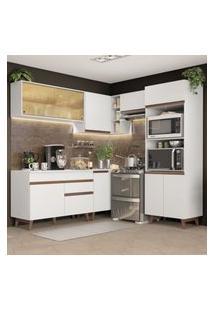 Cozinha Completa De Canto Madesa Reims 402002 Com Armário E Balcáo - Branco Branco