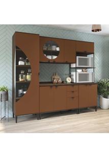 Cozinha Compacta Pop 9 Portas 3 Gavetas Cbpo006 Jacarandá/Terracota - Kappesberg