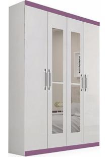 Armário Apolo C/ 4 Portas, 3 Gavetas Internas E Espelho, Padrao - Branco/Branco C/ Lilás