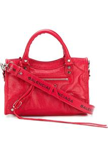 Balenciaga Bolsa Classic Mini City Com Logo - Vermelho