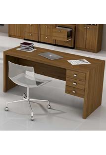 Mesa Para Escritório Com 3 Gavetas Me4113 Tecno Mobili Amendoa