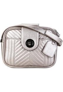 Bolsa Shoestock Transversal Matelassê Feminina - Feminino-Prata