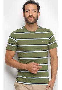 Camiseta Listrada Lacoste Masculina - Masculino-Verde