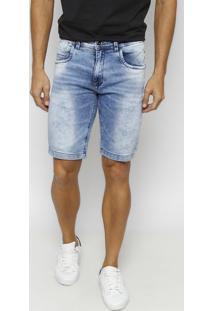 Bermuda Jeans Estonada Com Bigodes - Azul- Tuaregtuareg
