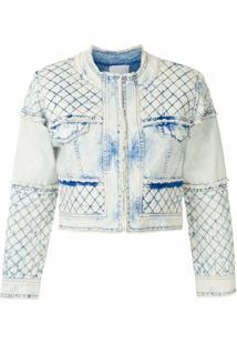 Andrea Bogosian Jaqueta Jeans Cropped Saxan - Azul