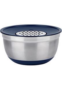 Jogo De Bowl Com Ralador German- Inox & Azul- 13Xø24Euro Homeware
