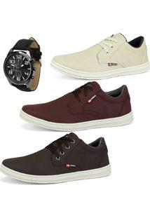 Kit Com 3 Sapatenis Cr Shoes Casuais Sintético Com Relógio Areia/Bordo/Cafe