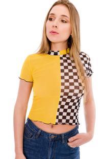 Blusa Saloon 33 Quadriculada Amarela - Tricae