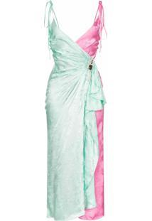 The Attico Vestido Transpassado Jacquard - Verde