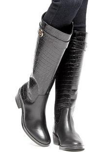 Bota Couro Montaria Shoestock Croco Feminina - Feminino-Preto