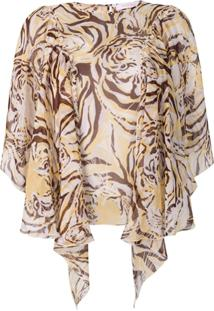 See By Chloé Tiger Print Flouncy Blouse - Neutro