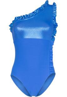 Leslie Amon Maiô Ombro Único Com Detalhe De Babado - Azul