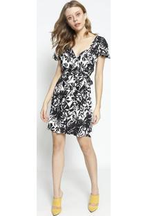 Vestido Floral Com Transpasse - Off White & Preto - Sommer