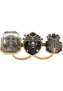 Alexander Mcqueen Skull Double Ring - Preto