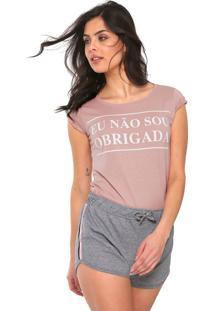 Camiseta Fiveblu Eu Não Sou Obrigada Rosa