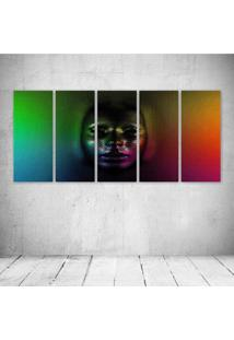 Quadro Decorativo - Cg Digital Art Psychedelic Face Skull - Composto De 5 Quadros - Multicolorido - Dafiti