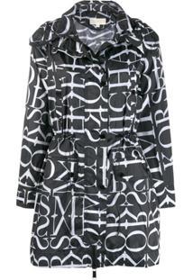 Michael Michael Kors Trench Coat Com Logo - Preto