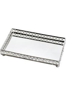 Bandeja Retangular Com Pedrarias- Cristal & Espelhada