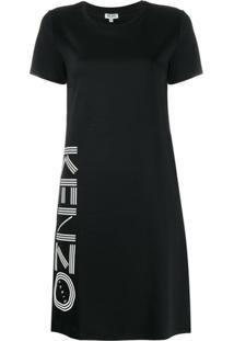 Kenzo Vestido Reto Preto Com Estampa De Logo