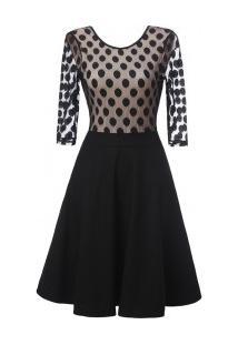 Vestido Vintage Rodado Design De Bolinhas - Preto