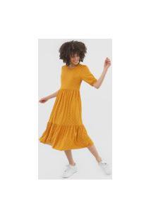 Vestido Fiveblu Midi Poá Amarelo