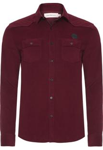 Camisa Masculina Veludo - Vinho