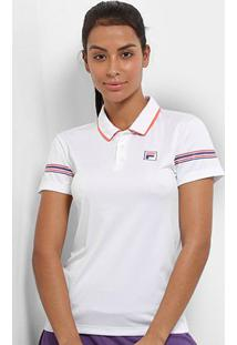 Camisa Polo Fila Stripe Feminina - Feminino-Branco+Salmão
