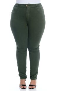 Calça Plus Size Cambos Verde Militar Sarja Skinny