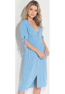 Vestido Azul Claro Com Abertura Em Botões
