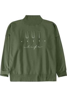 Blusão Verde Relax Em Moletom