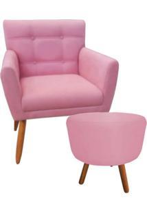 Combo Poltrona Decorativa Onix Mais Puff Redondo Suede Rosa - Ds Móveis
