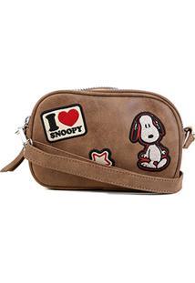Bolsa Snoopy Transversal Mini Bag Feminina - Feminino-Marrom